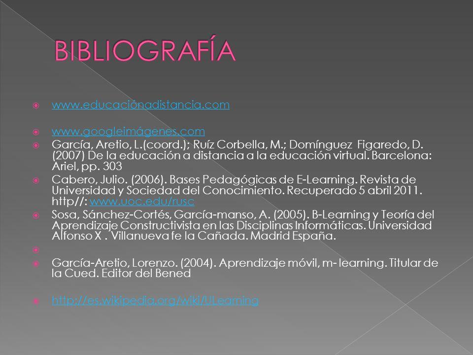www.educaciónadistancia.com www.googleimágenes.com García, Aretio, L.(coord.); Ruíz Corbella, M.; Domínguez Figaredo, D. (2007) De la educación a dist