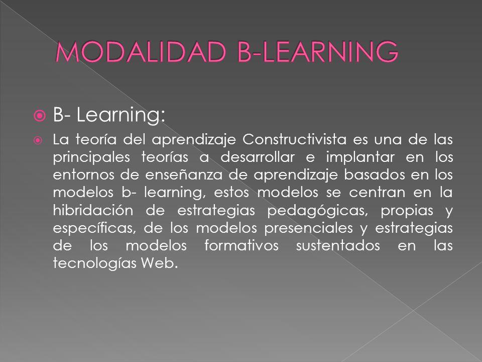 B- Learning: La teoría del aprendizaje Constructivista es una de las principales teorías a desarrollar e implantar en los entornos de enseñanza de apr