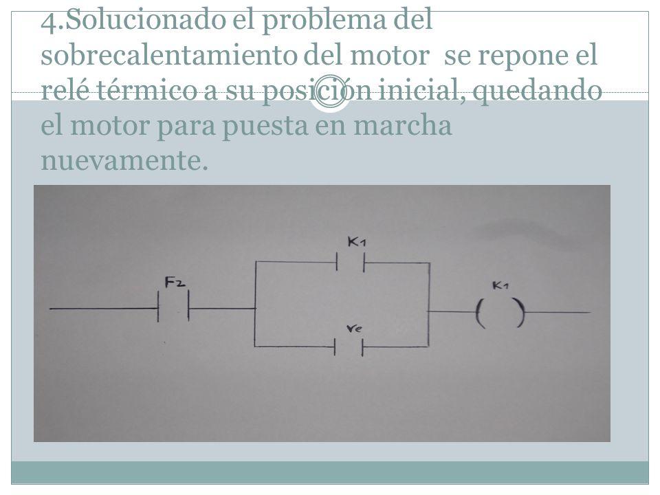 4.Solucionado el problema del sobrecalentamiento del motor se repone el relé térmico a su posición inicial, quedando el motor para puesta en marcha nu