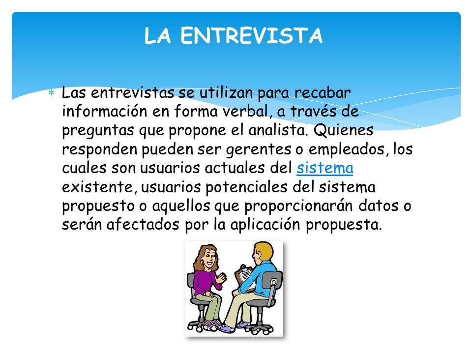 LA ENTREVISTA Las entrevistas se utilizan para recabar información en forma verbal, a través de preguntas que propone el analista.