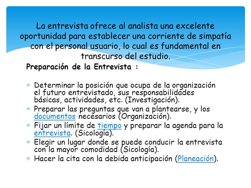 Preparación de la Entrevista : Determinar la posición que ocupa de la organización el futuro entrevistado, sus responsabilidades básicas, actividades, etc.