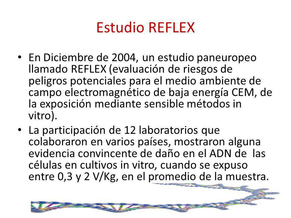 Estudio REFLEX En Diciembre de 2004, un estudio paneuropeo llamado REFLEX (evaluación de riesgos de peligros potenciales para el medio ambiente de cam