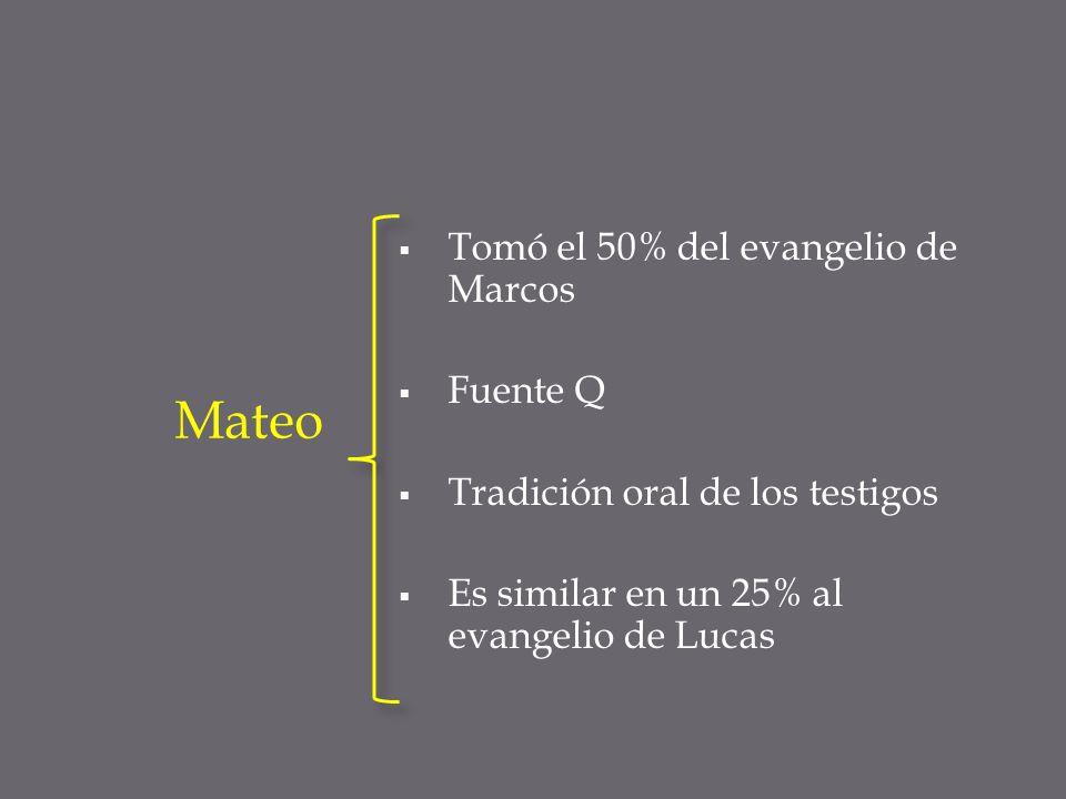 Tomó el 50% del evangelio de Marcos Fuente Q Tradición oral de los testigos Es similar en un 25% al evangelio de Lucas Mateo