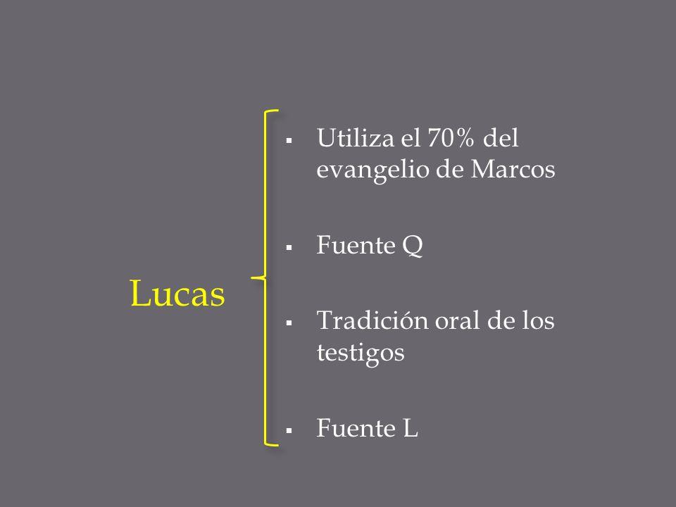 Utiliza el 70% del evangelio de Marcos Fuente Q Tradición oral de los testigos Fuente L Lucas