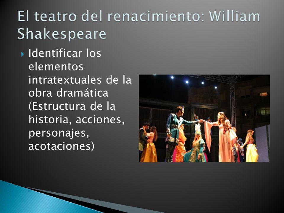 Identificar los elementos intratextuales de la obra dramática (Estructura de la historia, acciones, personajes, acotaciones)
