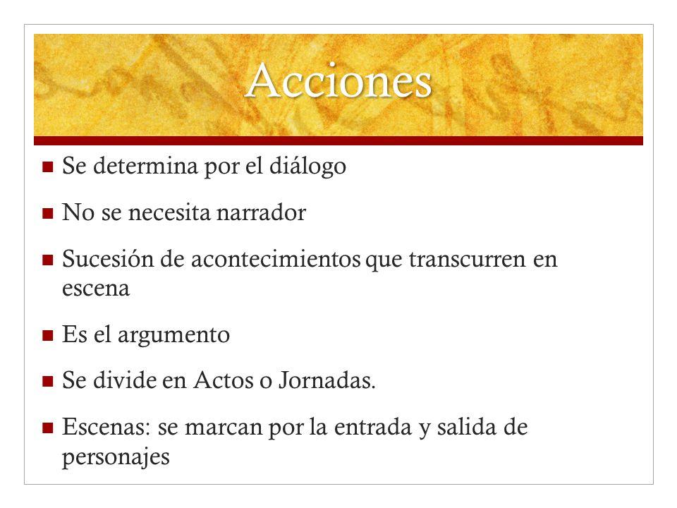 Acciones Se determina por el diálogo No se necesita narrador Sucesión de acontecimientos que transcurren en escena Es el argumento Se divide en Actos