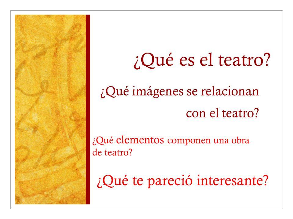 ¿Qué imágenes se relacionan con el teatro? ¿Qué elementos componen una obra de teatro? ¿Qué es el teatro? ¿Qué te pareció interesante?