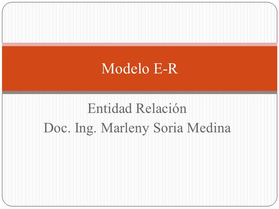 Entidad Relación Doc. Ing. Marleny Soria Medina Modelo E-R