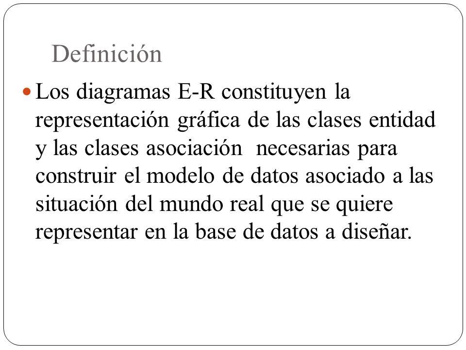 Definición Los diagramas E-R constituyen la representación gráfica de las clases entidad y las clases asociación necesarias para construir el modelo d
