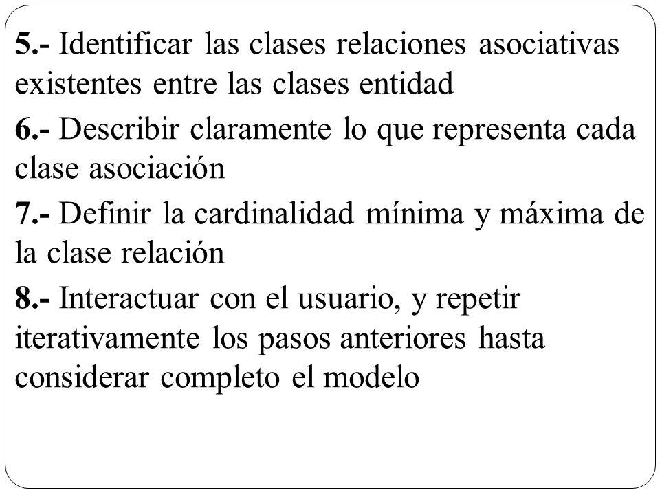 5.- Identificar las clases relaciones asociativas existentes entre las clases entidad 6.- Describir claramente lo que representa cada clase asociación