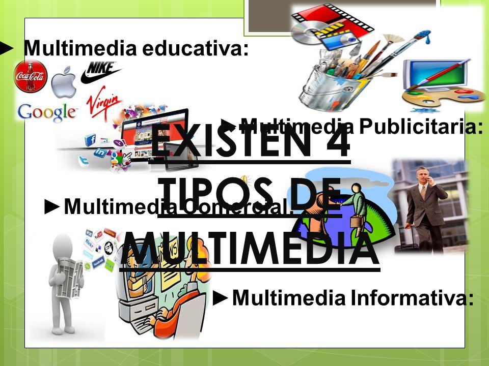 Los diferentes tipos de multimedia se pueden clasificar de acuerdo a la finalidad de la información, o también, al medio en el cual serán publicadas.