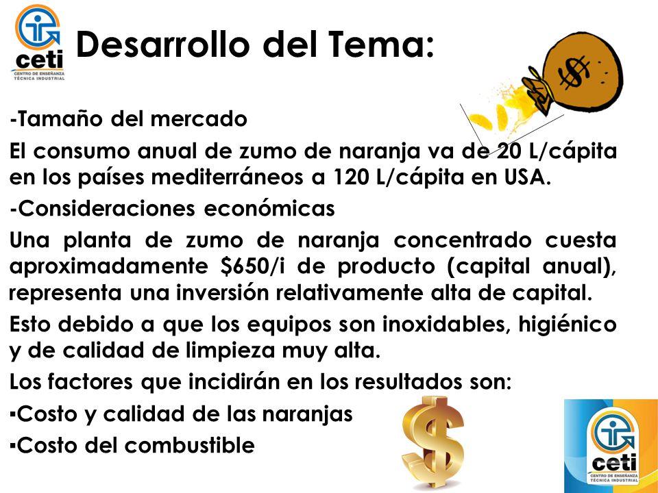 Desarrollo del Tema: -Tamaño del mercado El consumo anual de zumo de naranja va de 20 L/cápita en los países mediterráneos a 120 L/cápita en USA. -Con