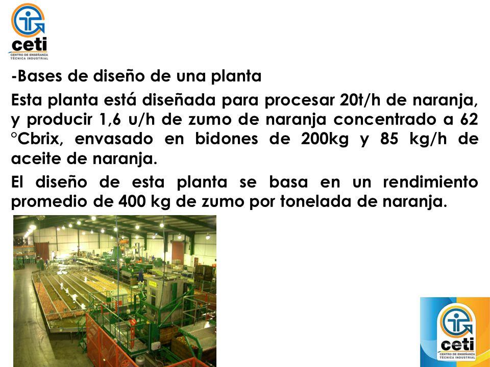 -Bases de diseño de una planta Esta planta está diseñada para procesar 20t/h de naranja, y producir 1,6 u/h de zumo de naranja concentrado a 62 °Cbrix