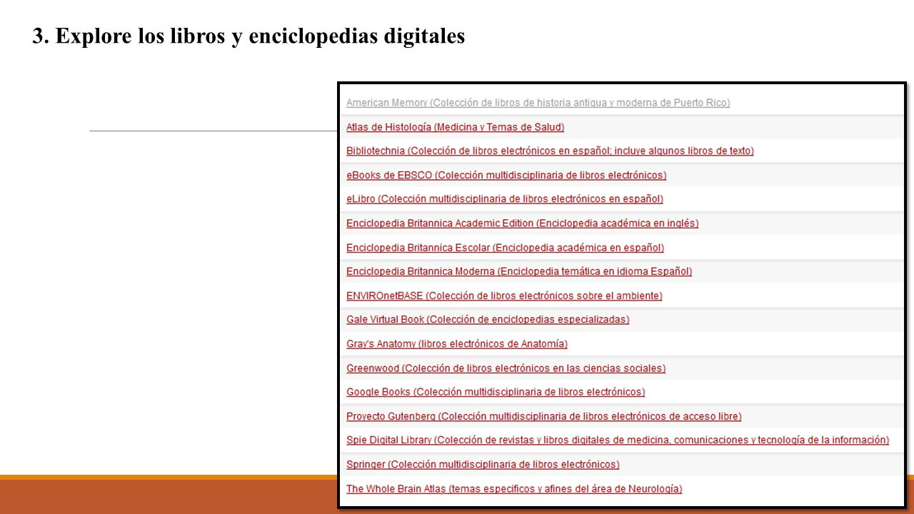 3. Explore los libros y enciclopedias digitales