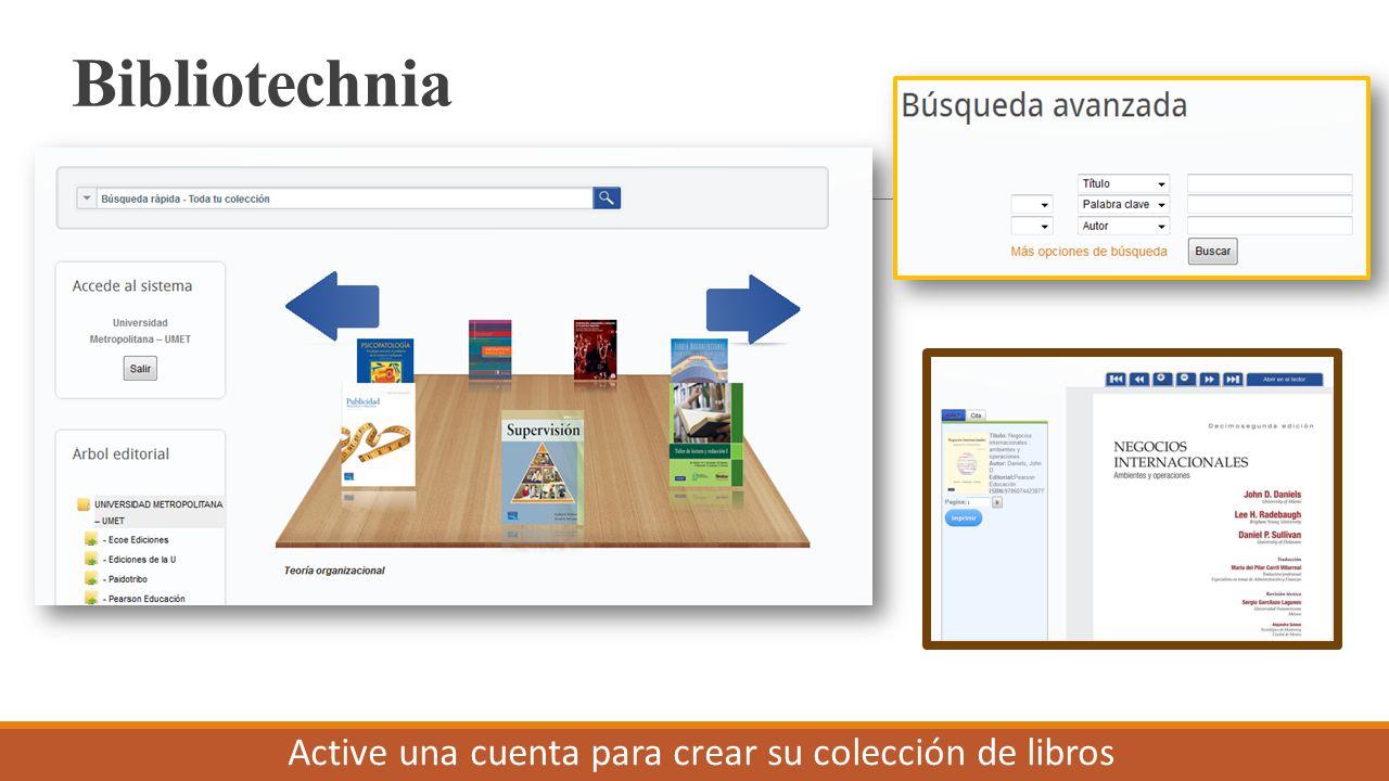 Bibliotechnia Active una cuenta para crear su colección de libros