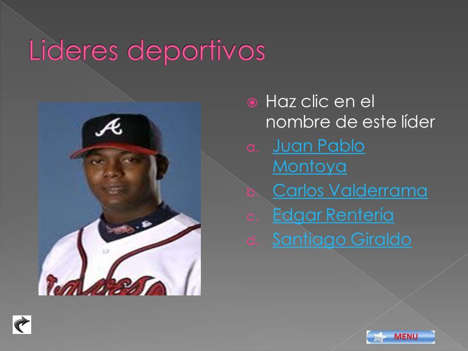 Haz clic en el nombre de este líder a.Juan Pablo Montoya Juan Pablo Montoya b.