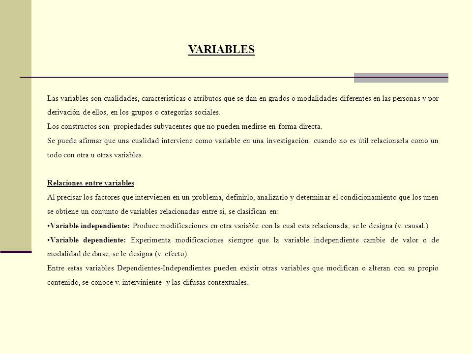 VARIABLES Las variables son cualidades, características o atributos que se dan en grados o modalidades diferentes en las personas y por derivación de