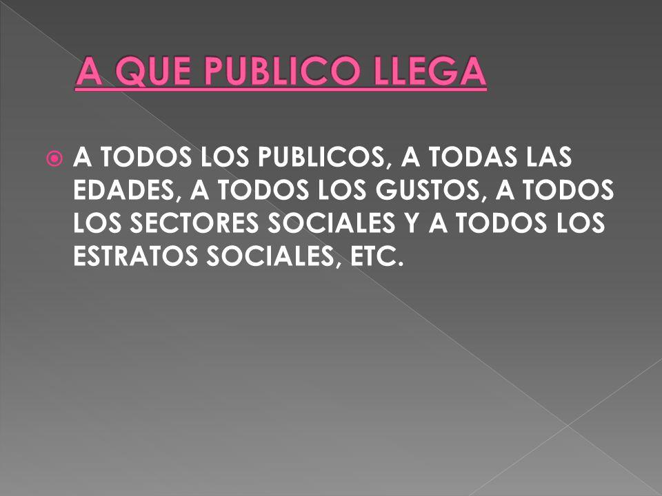 A TODOS LOS PUBLICOS, A TODAS LAS EDADES, A TODOS LOS GUSTOS, A TODOS LOS SECTORES SOCIALES Y A TODOS LOS ESTRATOS SOCIALES, ETC.