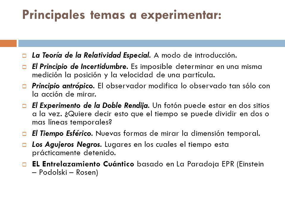 Principales temas a experimentar: La Teoría de la Relatividad Especial.