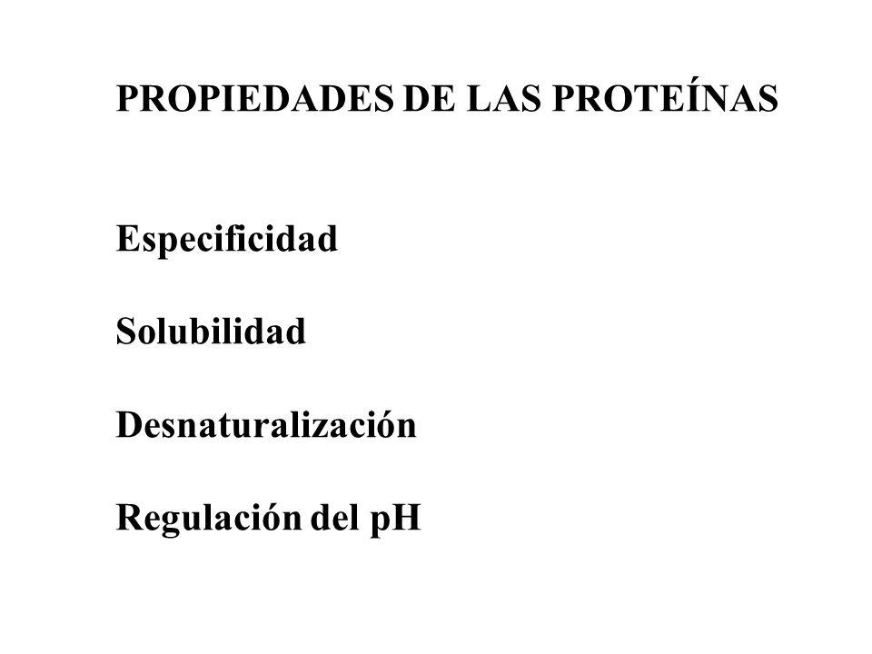 PROPIEDADES DE LAS PROTEÍNAS Especificidad Solubilidad Desnaturalización Regulación del pH