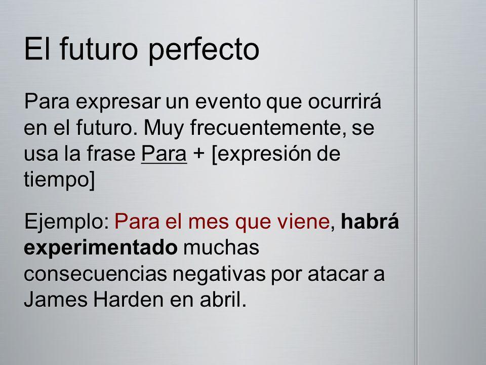 Para expresar un evento que ocurrirá en el futuro. Muy frecuentemente, se usa la frase Para + [expresión de tiempo] Ejemplo: Para el mes que viene, ha