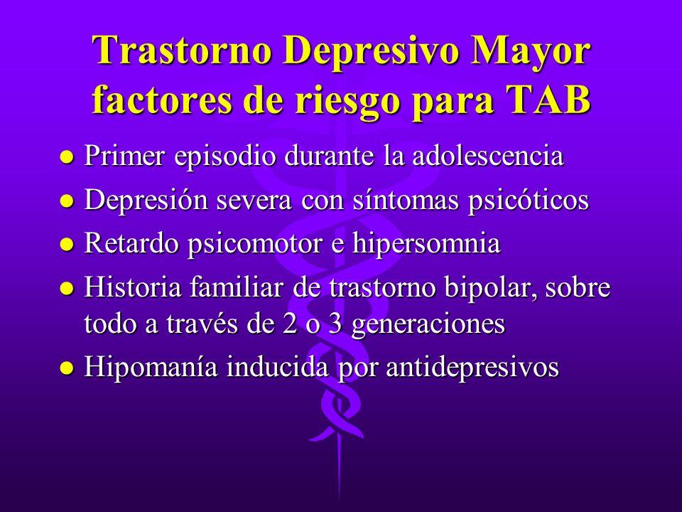 Trastorno Depresivo Mayor factores de riesgo para TAB l Primer episodio durante la adolescencia l Depresión severa con síntomas psicóticos l Retardo p