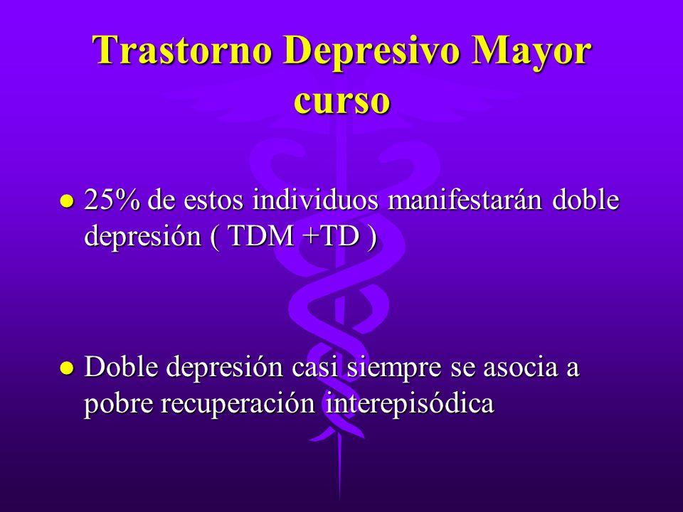 Trastorno Depresivo Mayor curso l 25% de estos individuos manifestarán doble depresión ( TDM +TD ) l Doble depresión casi siempre se asocia a pobre re