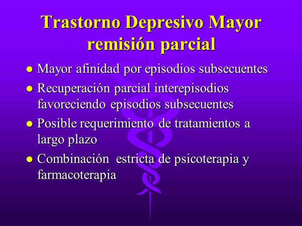 Trastorno Depresivo Mayor remisión parcial l Mayor afinidad por episodios subsecuentes l Recuperación parcial interepisodios favoreciendo episodios su