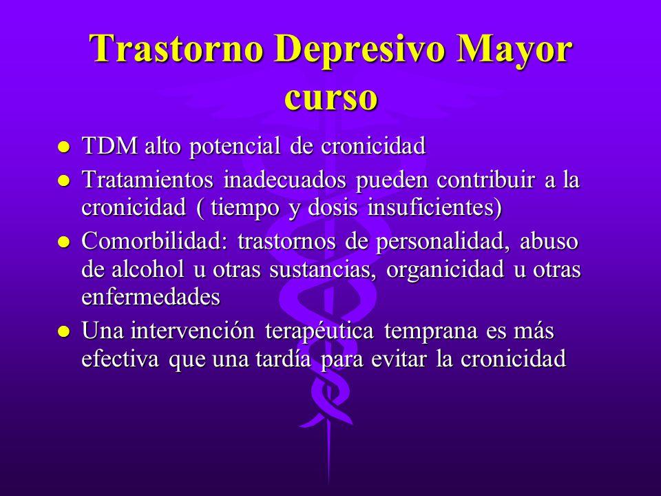 Trastorno Depresivo Mayor curso l TDM alto potencial de cronicidad l Tratamientos inadecuados pueden contribuir a la cronicidad ( tiempo y dosis insuf