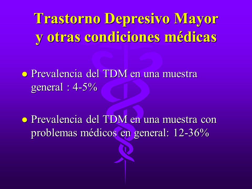 Trastorno Depresivo Mayor y otras condiciones médicas l Prevalencia del TDM en una muestra general : 4-5% l Prevalencia del TDM en una muestra con pro