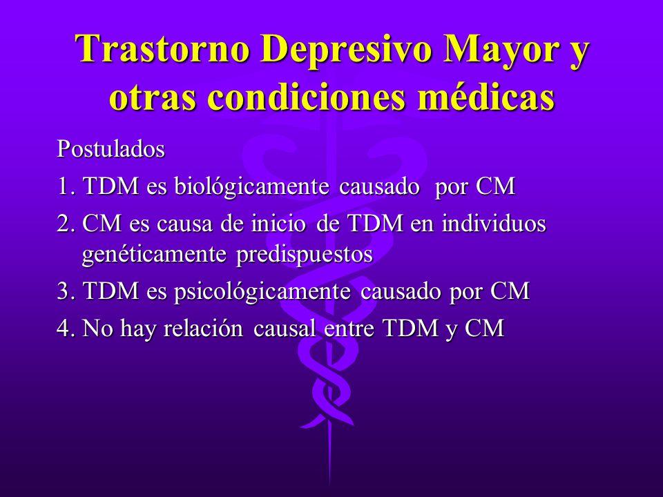Trastorno Depresivo Mayor y otras condiciones médicas Postulados 1. TDM es biológicamente causado por CM 2. CM es causa de inicio de TDM en individuos