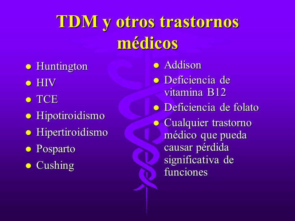TDM y otros trastornos médicos l Huntington l HIV l TCE l Hipotiroidismo l Hipertiroidismo l Posparto l Cushing l Addison l Deficiencia de vitamina B1