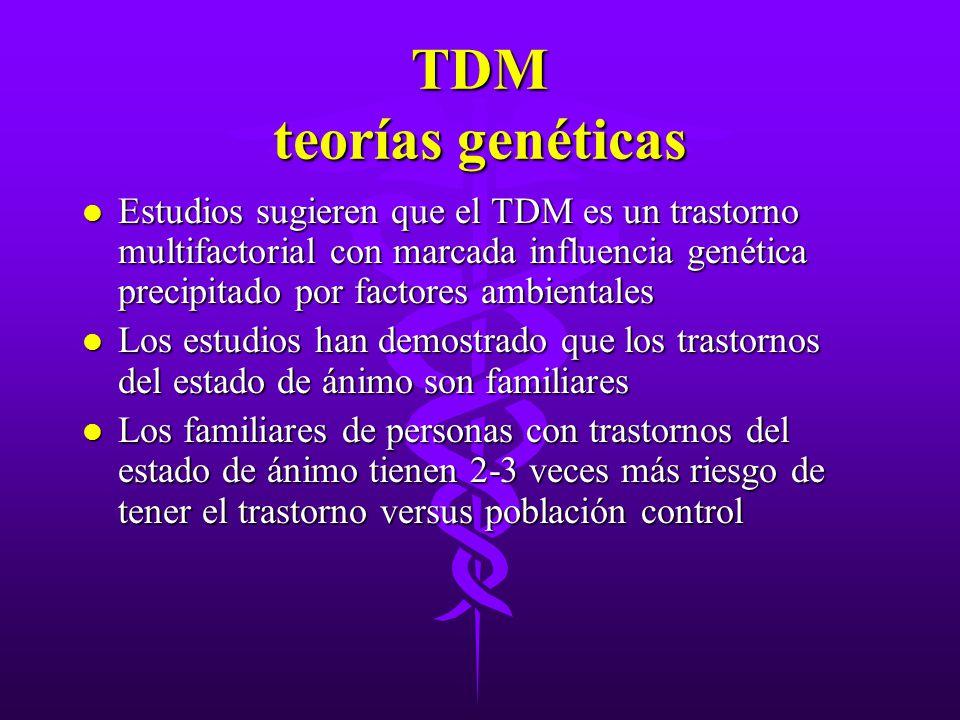 TDM teorías genéticas l Estudios sugieren que el TDM es un trastorno multifactorial con marcada influencia genética precipitado por factores ambiental