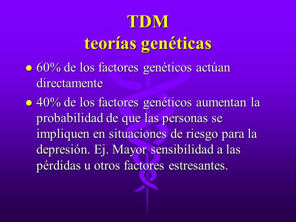 TDM teorías genéticas l 60% de los factores genéticos actúan directamente l 40% de los factores genéticos aumentan la probabilidad de que las personas