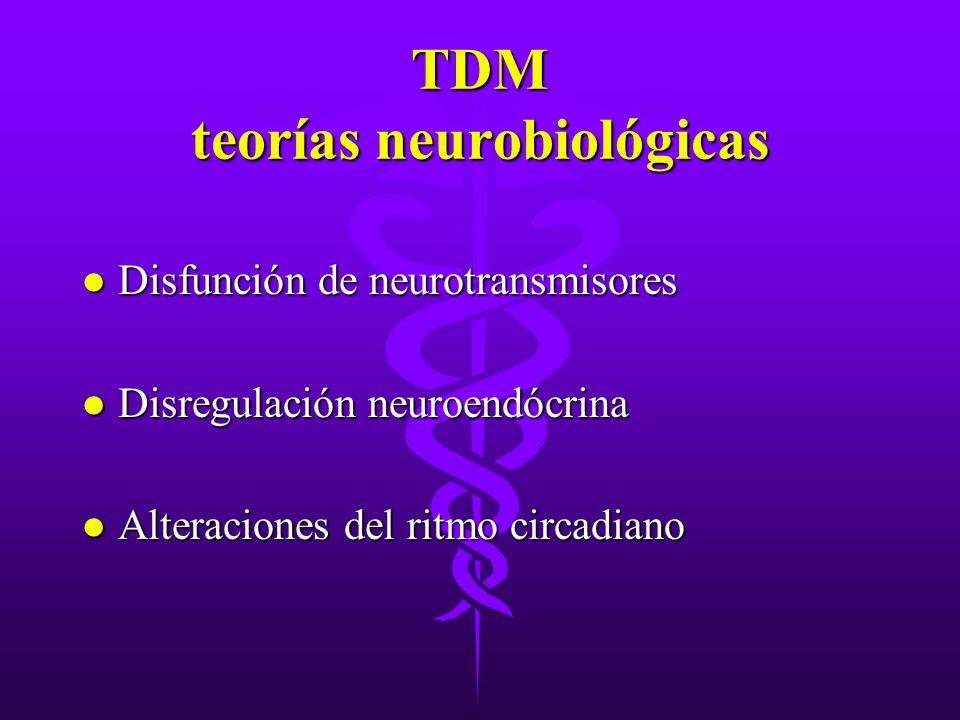 TDM teorías neurobiológicas l Disfunción de neurotransmisores l Disregulación neuroendócrina l Alteraciones del ritmo circadiano