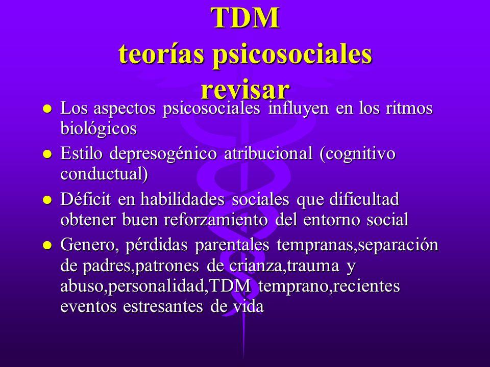 TDM teorías psicosociales revisar l Los aspectos psicosociales influyen en los ritmos biológicos l Estilo depresogénico atribucional (cognitivo conduc