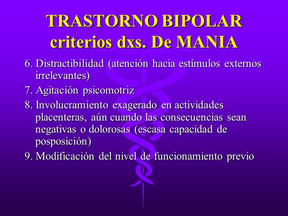 TRASTORNO BIPOLAR criterios dxs. De MANIA 6. Distractibilidad (atención hacia estímulos externos irrelevantes) 7. Agitación psicomotriz 8. Involucrami
