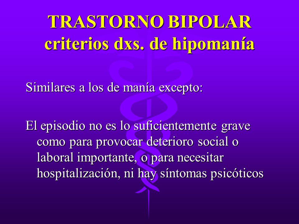 TRASTORNO BIPOLAR criterios dxs. de hipomanía Similares a los de manía excepto: El episodio no es lo suficientemente grave como para provocar deterior