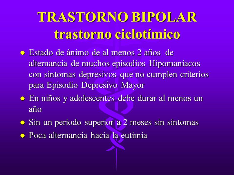 TRASTORNO BIPOLAR trastorno ciclotímico l Estado de ánimo de al menos 2 años de alternancia de muchos episodios Hipomaníacos con síntomas depresivos q