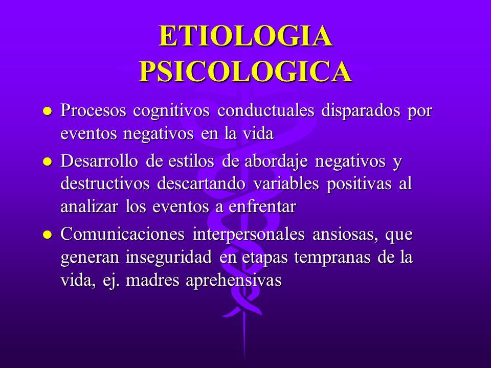 ETIOLOGIA PSICOLOGICA l Procesos cognitivos conductuales disparados por eventos negativos en la vida l Desarrollo de estilos de abordaje negativos y d