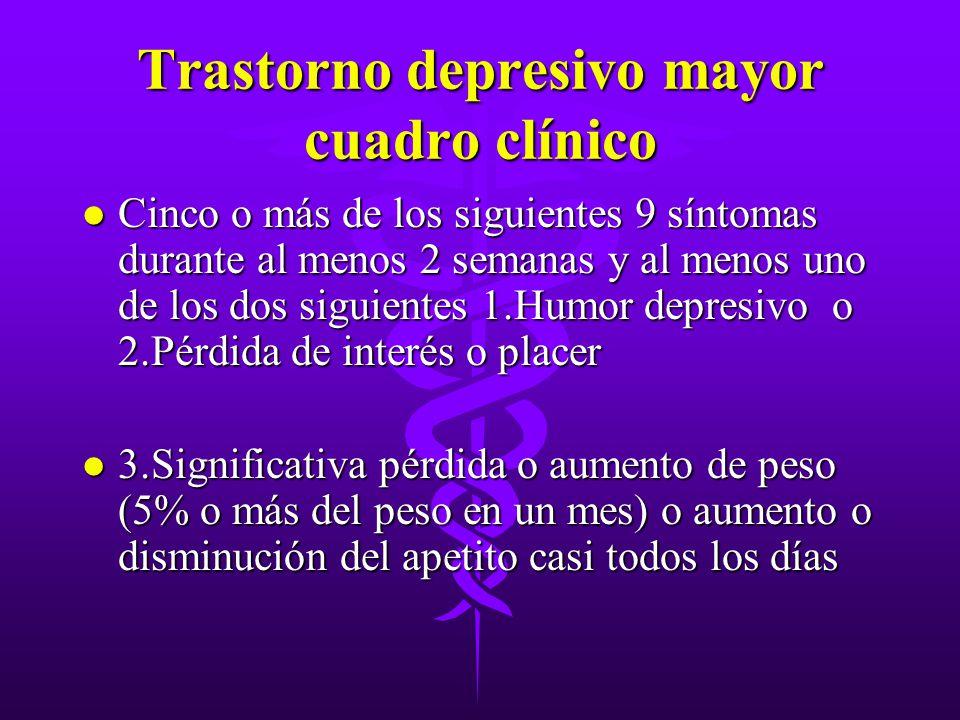 Trastorno depresivo mayor cuadro clínico l Cinco o más de los siguientes 9 síntomas durante al menos 2 semanas y al menos uno de los dos siguientes 1.