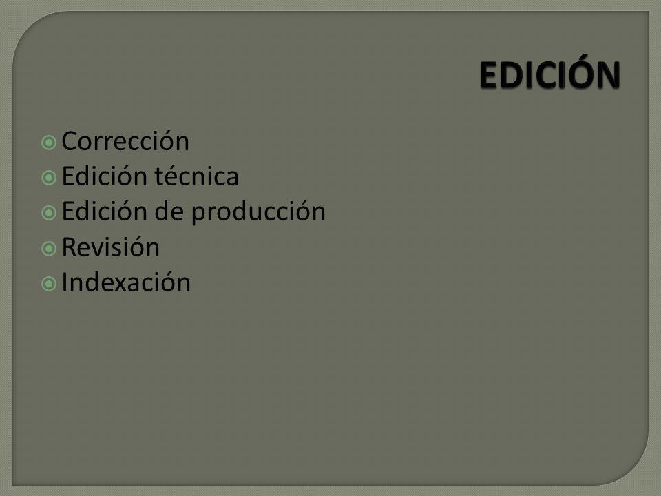Corrección Edición técnica Edición de producción Revisión Indexación