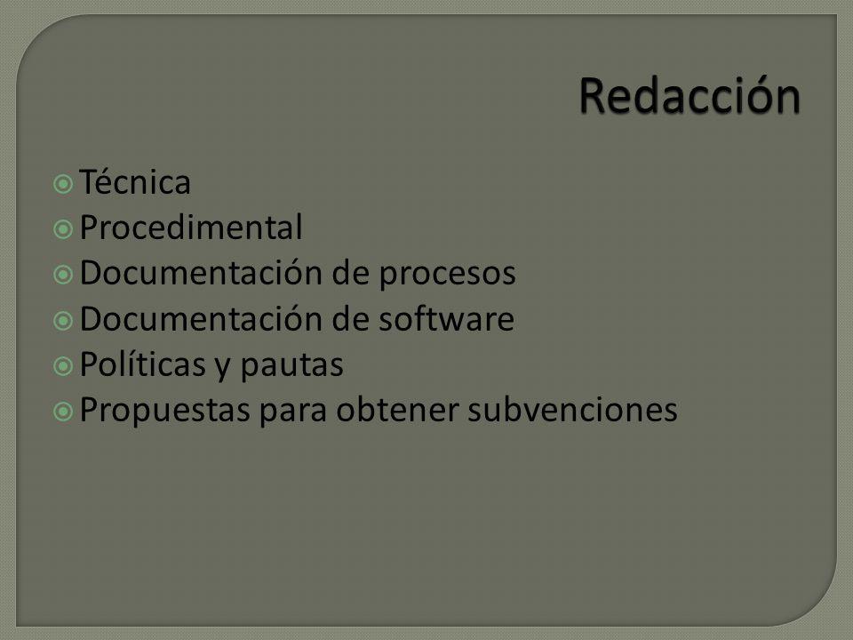 Técnica Procedimental Documentación de procesos Documentación de software Políticas y pautas Propuestas para obtener subvenciones