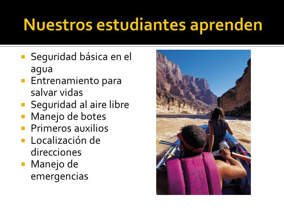 Seguridad básica en el agua Entrenamiento para salvar vidas Seguridad al aire libre Manejo de botes Primeros auxilios Localización de direcciones Manejo de emergencias