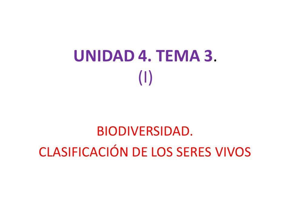 UNIDAD 4. TEMA 3. (I) BIODIVERSIDAD. CLASIFICACIÓN DE LOS SERES VIVOS