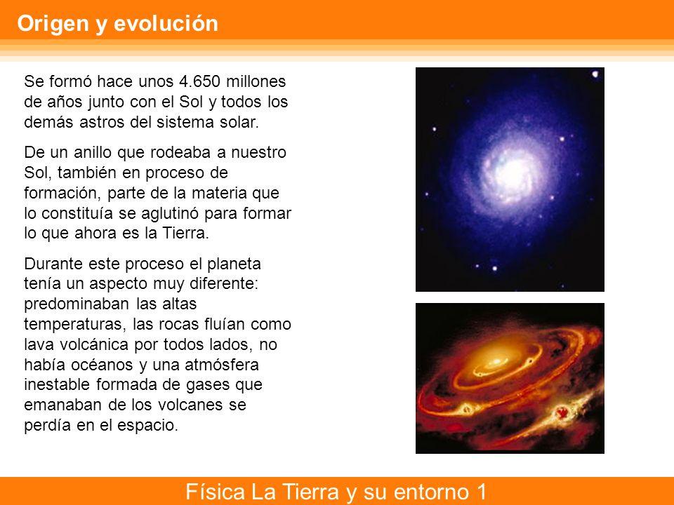 Física La Tierra y su entorno 1 Origen y evolución Se formó hace unos 4.650 millones de años junto con el Sol y todos los demás astros del sistema sol