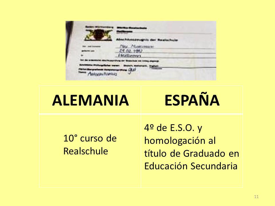 ALEMANIAESPAÑA 10° curso de Realschule 4º de E.S.O.