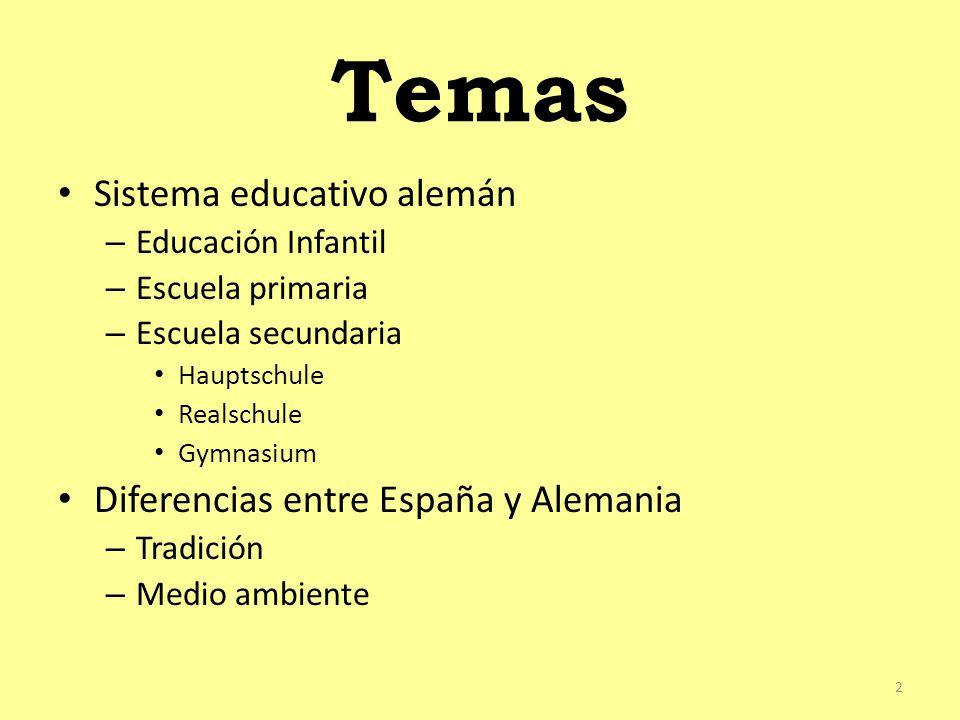 Temas Sistema educativo alemán – Educación Infantil – Escuela primaria – Escuela secundaria Hauptschule Realschule Gymnasium Diferencias entre España y Alemania – Tradición – Medio ambiente 2