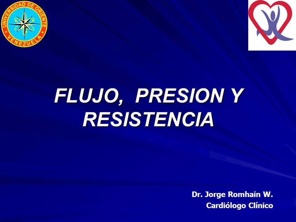 FLUJO, PRESION Y RESISTENCIA Dr. Jorge Romhain W. Cardiólogo Clínico