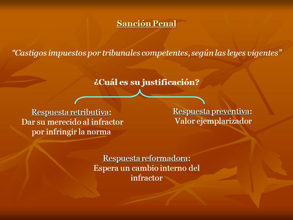 Sanción Penal Castigos impuestos por tribunales competentes, según las leyes vigentes ¿Cuál es su justificación.